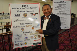 LT Darryl Peralta points to our Gold Sponsorship at the 2016 Veteran of the Year Luncheon